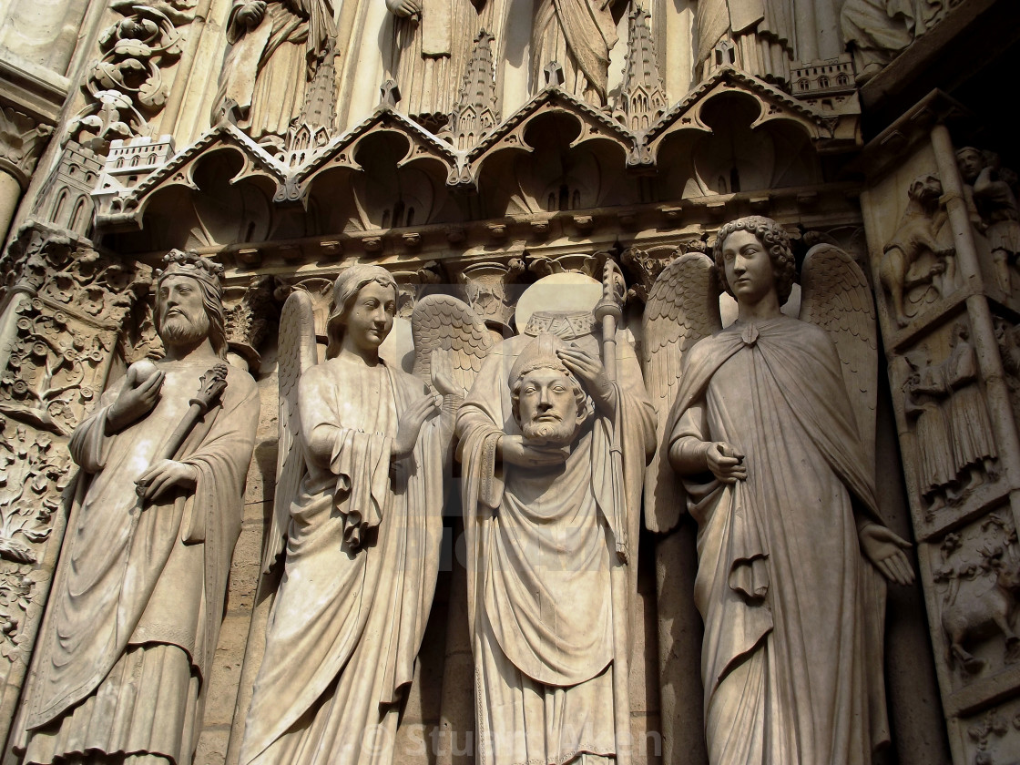 """Notre Dame Carvings"" stock image"