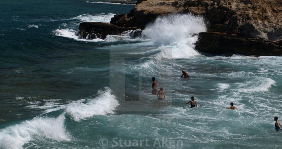 """""""Swimming at Avlaki Beach"""" stock image"""