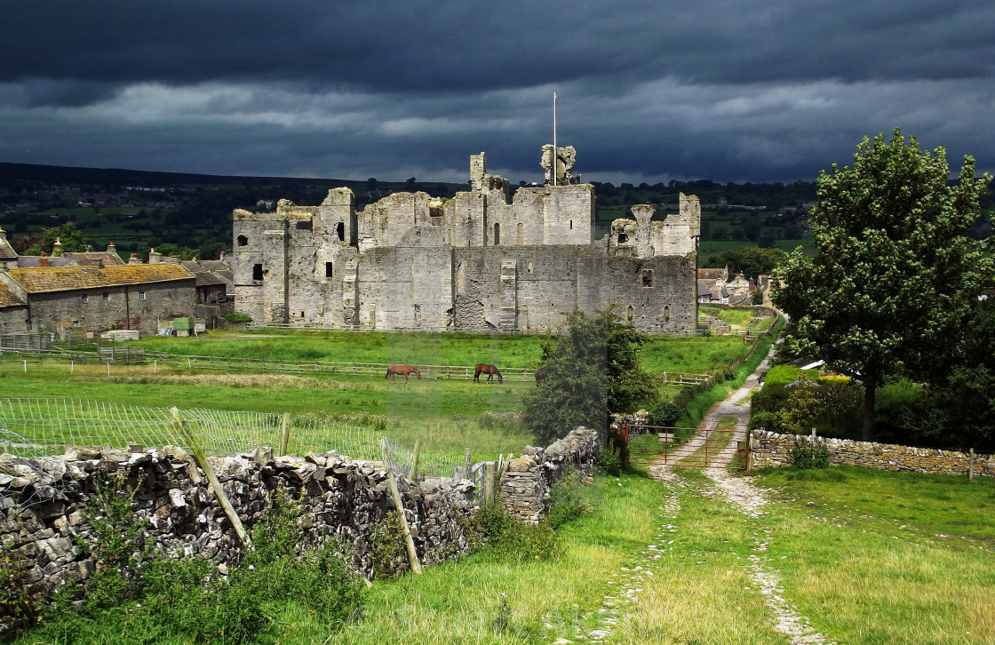 """Storm Over Middleham Castle"" stock image"