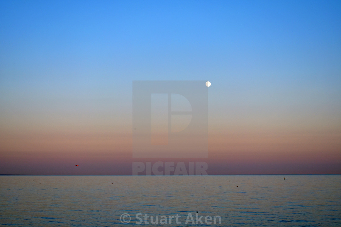 """Calm Sea, Full Moon."" stock image"