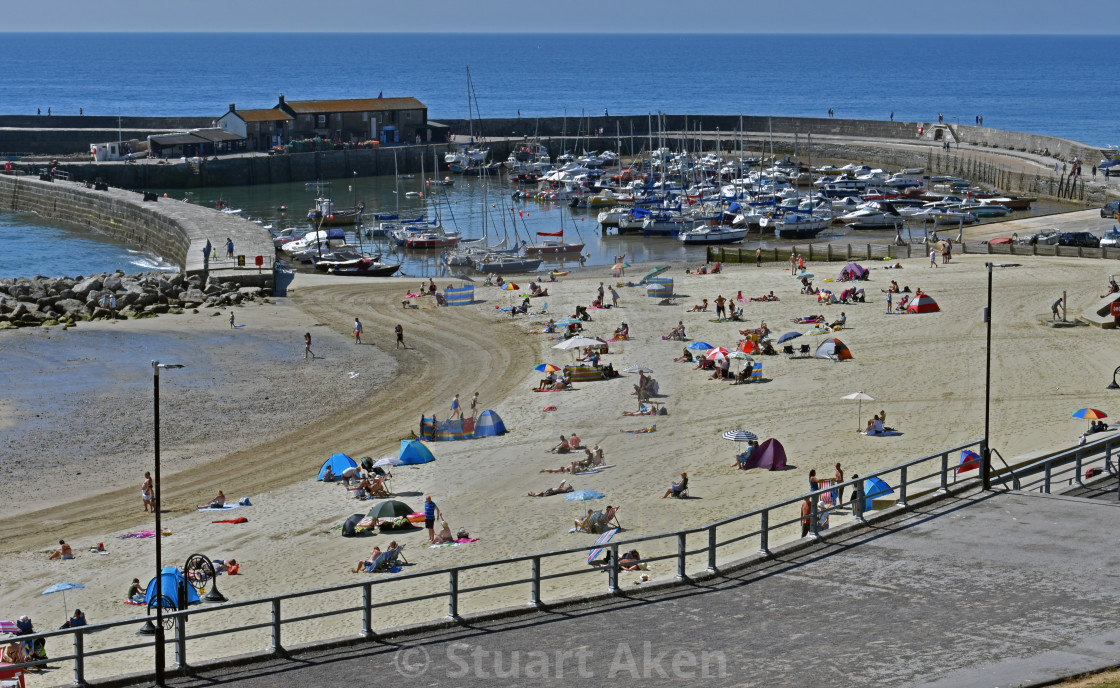 """Harbour and Beach at Lyme Regis"" stock image"
