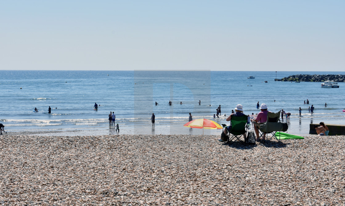 """On the Beach at Lyme Regis"" stock image"