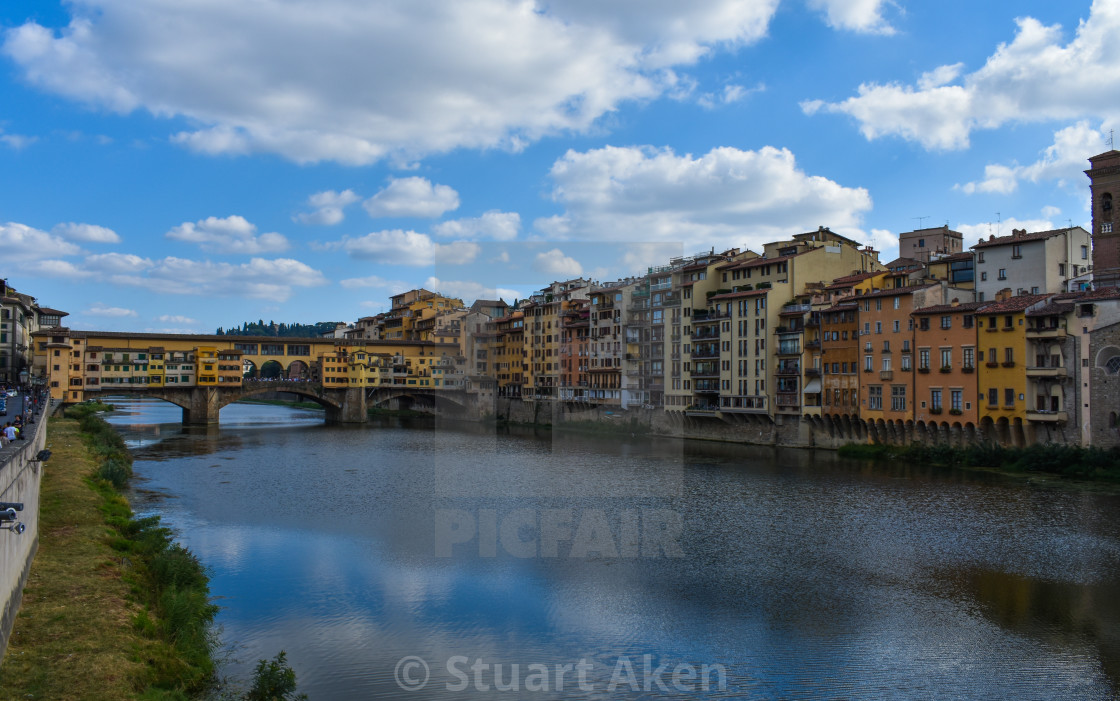 """""""Florence and the Ponte Vechio"""" stock image"""
