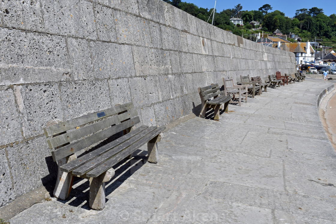 """""""Seaside Benches"""" stock image"""