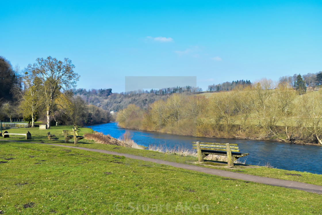 """Banks of River Wye at Lydbrook in the Forest of Dean"" stock image"