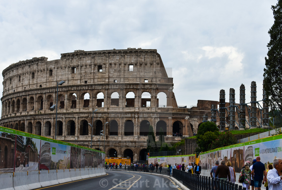 """""""Approach to the Colloseum in Rome"""" stock image"""