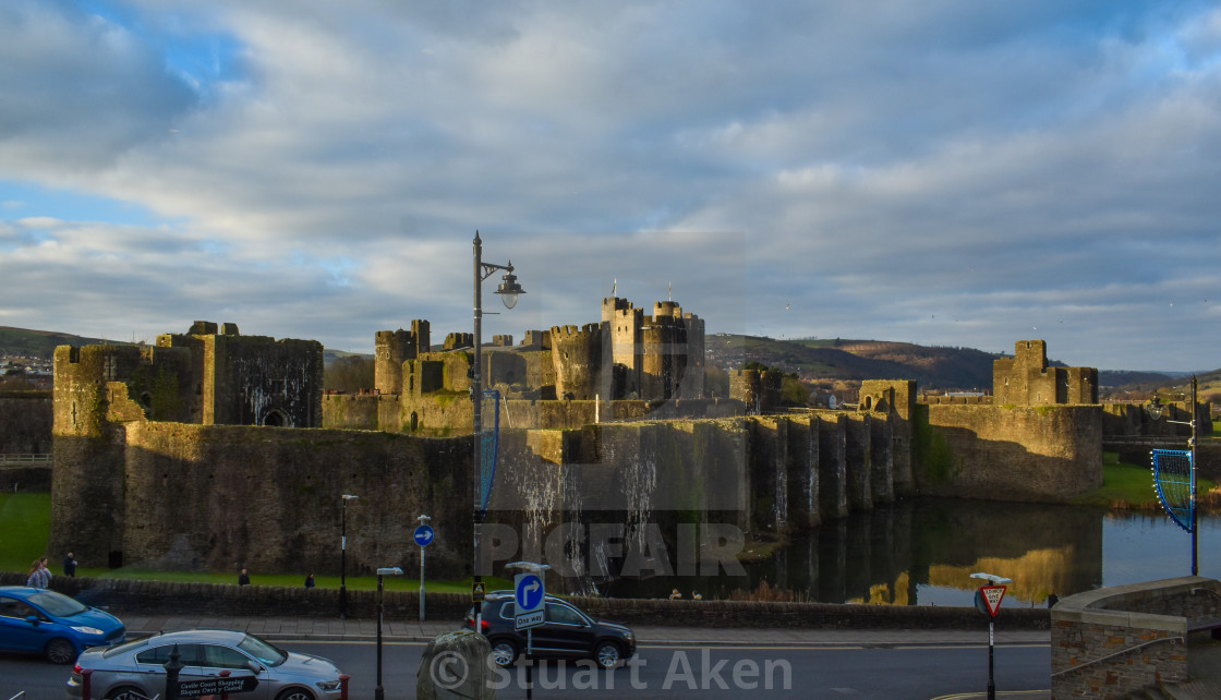 """Caerphilly Castle as the Sun Goes Down"" stock image"
