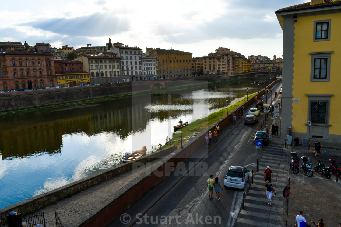 """Evening Sun on the River Arno"" stock image"