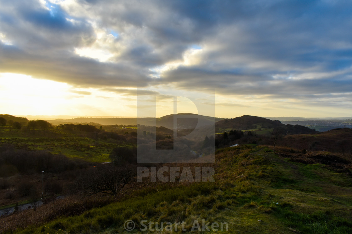 """Golden Glow in the Welsh Hills"" stock image"