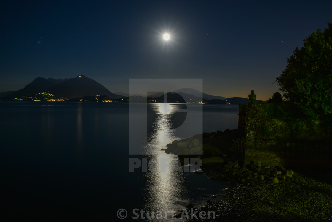 """Full Moon Over Lake Maggiore in Italy"" stock image"