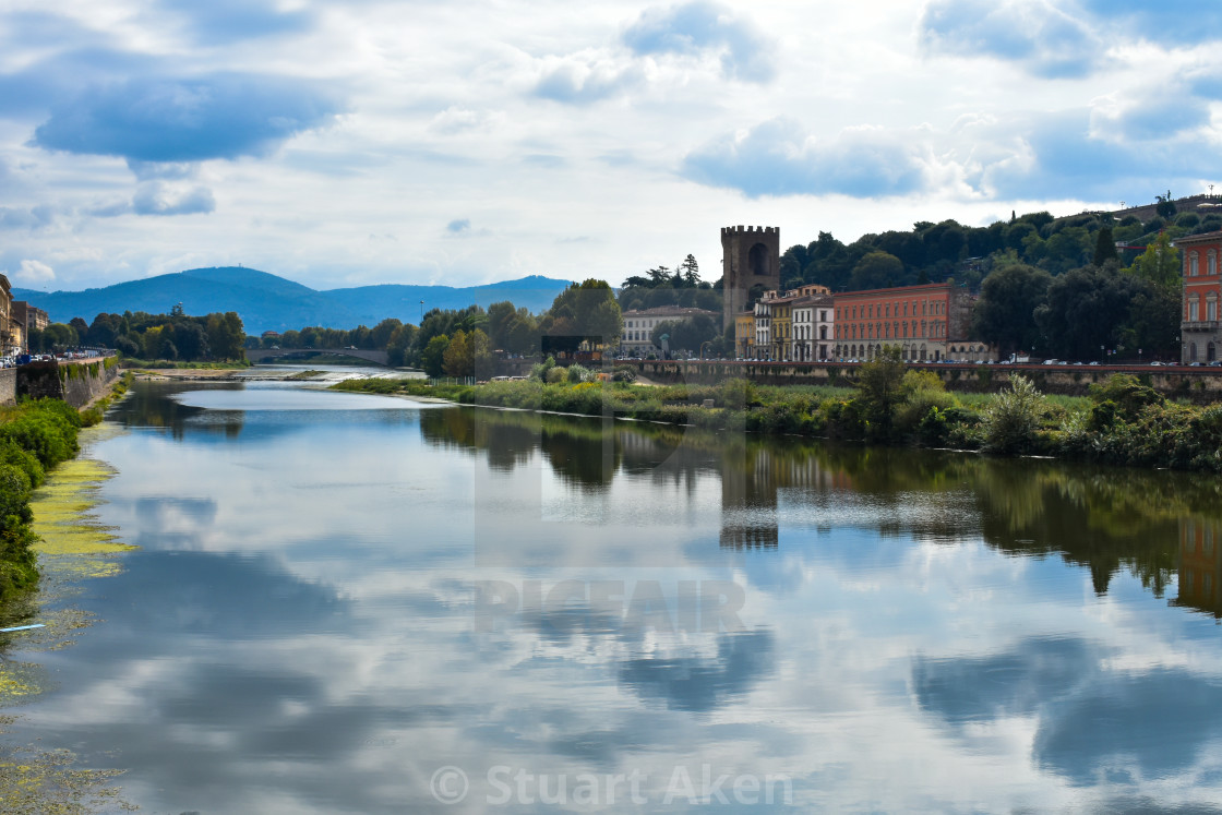 """Arno from Ponte Alle Grazie in Florence"" stock image"