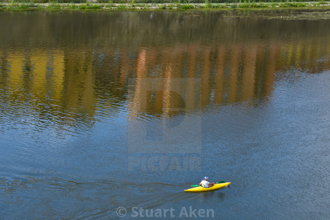 """Yellow Canoe on the Arno"" stock image"