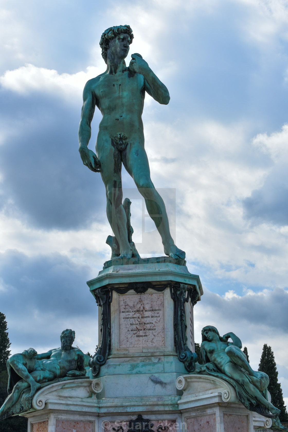 """""""David, Monument to Michelangelo in Florence"""" stock image"""