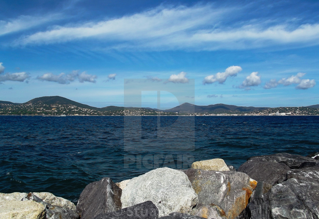 """Mediterranean Sea Wall at St Tropez"" stock image"