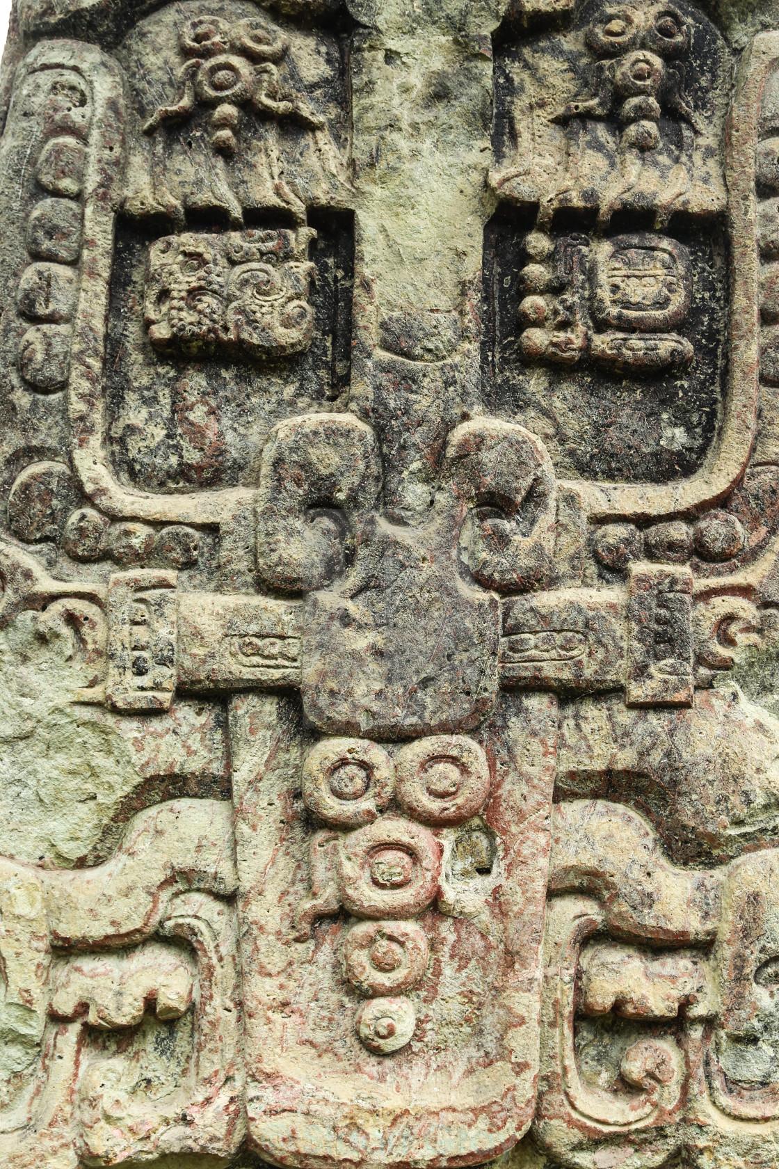 Ancient mayan stone carving copan ruins honduras