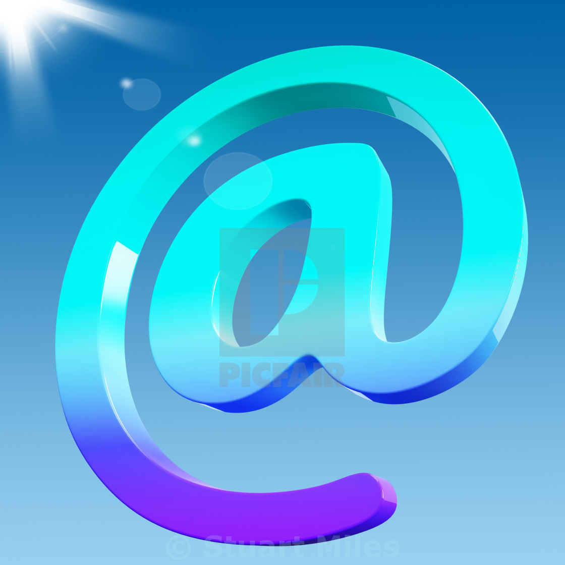 """At Sign Shows Email Correspondence on Web"" stock image"