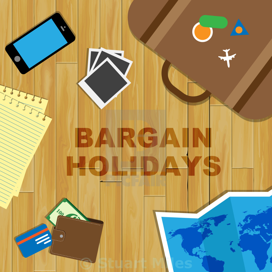 """Bargain Holidays Indicates Time Off And Bargains"" stock image"