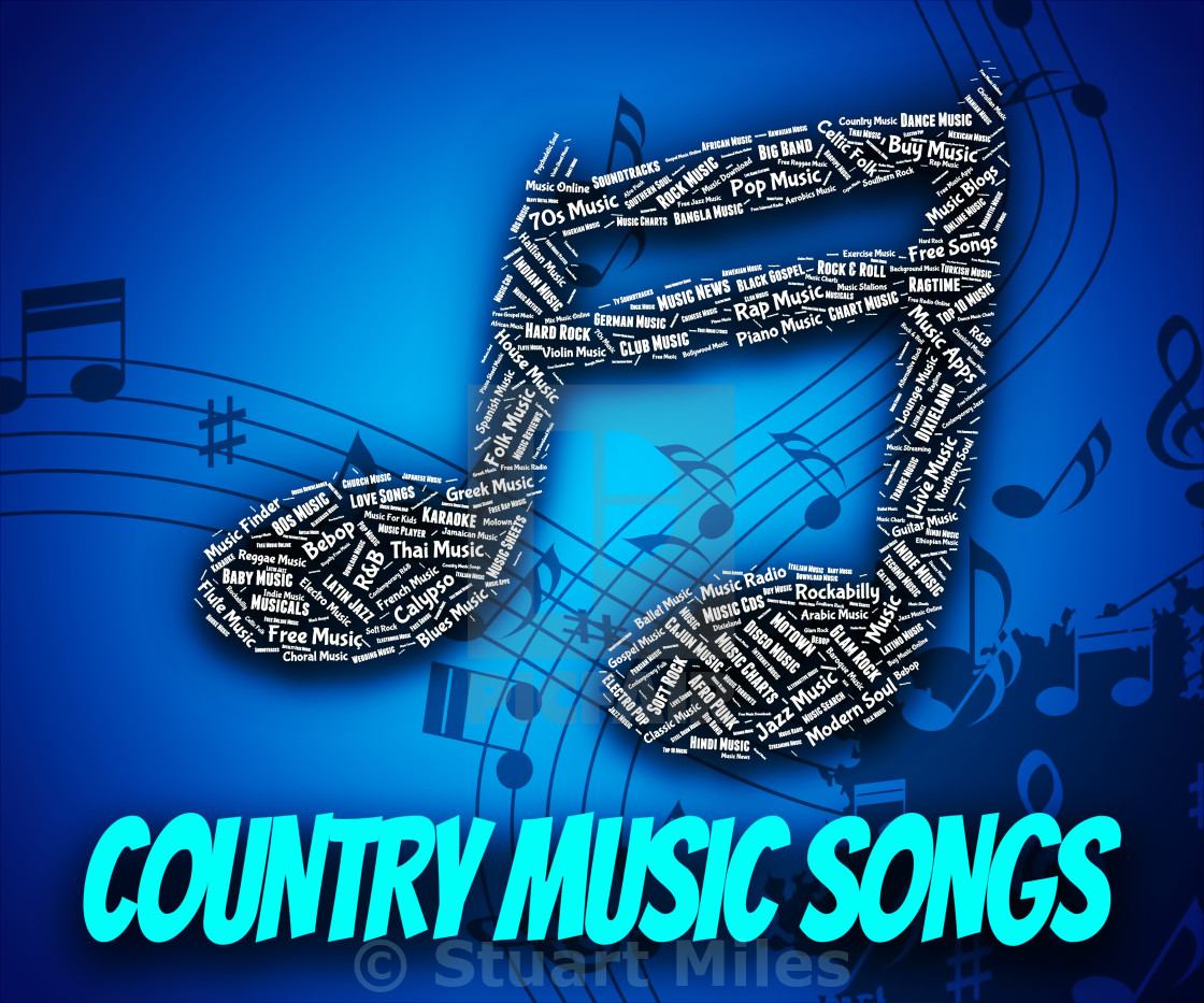 Country Music Songs Indicates Sound Track And Country-And