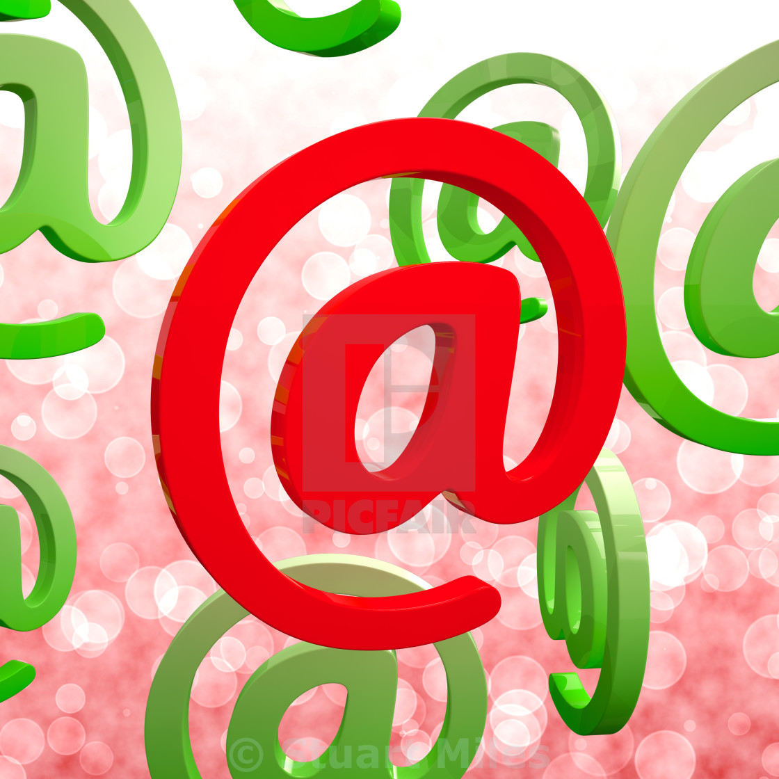 """""""At Sign Means Email Correspondence on Web"""" stock image"""