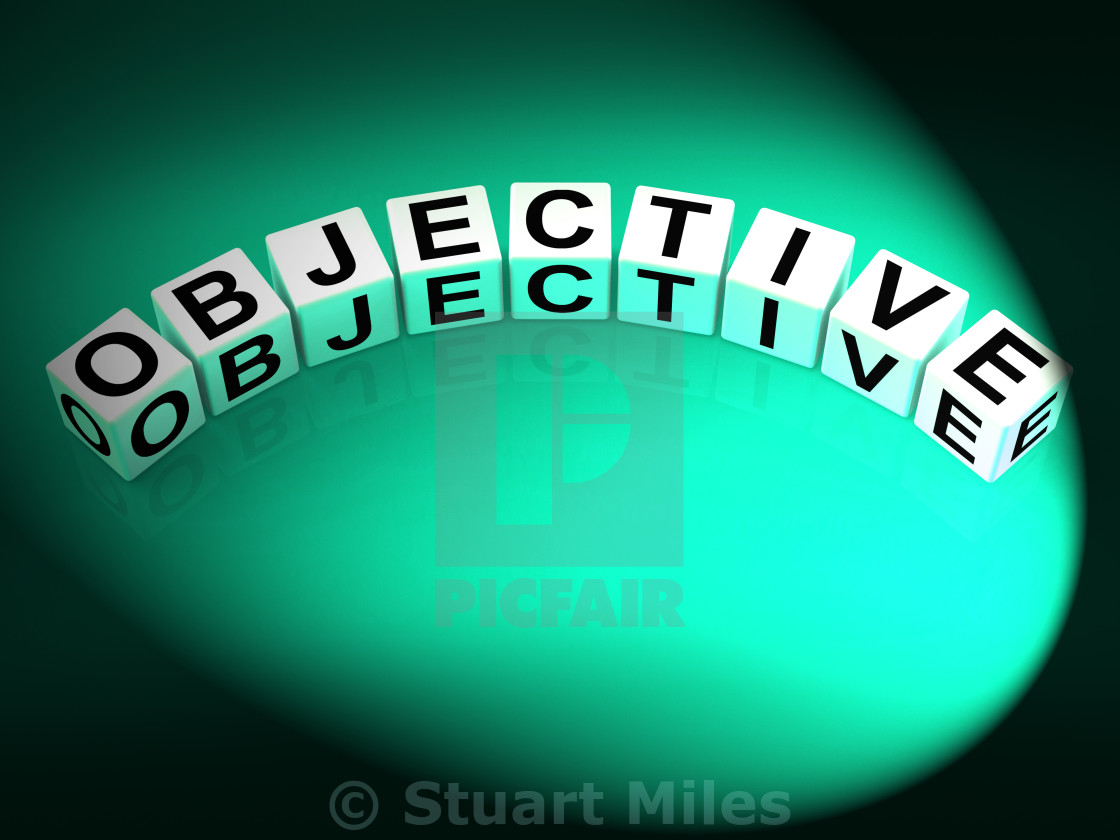 """Objective Dice Mean Goals Targets and Objectives"" stock image"