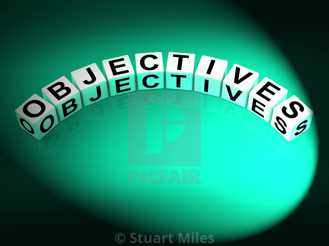 """Objectives Dice Show Motivation Aims and Goals"" stock image"