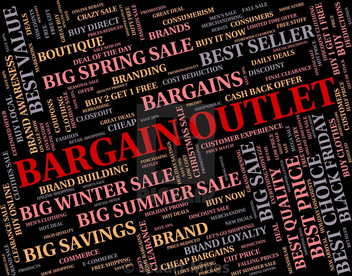 """""""Bargain Outlet Represents Word Shop And Outlets"""" stock image"""
