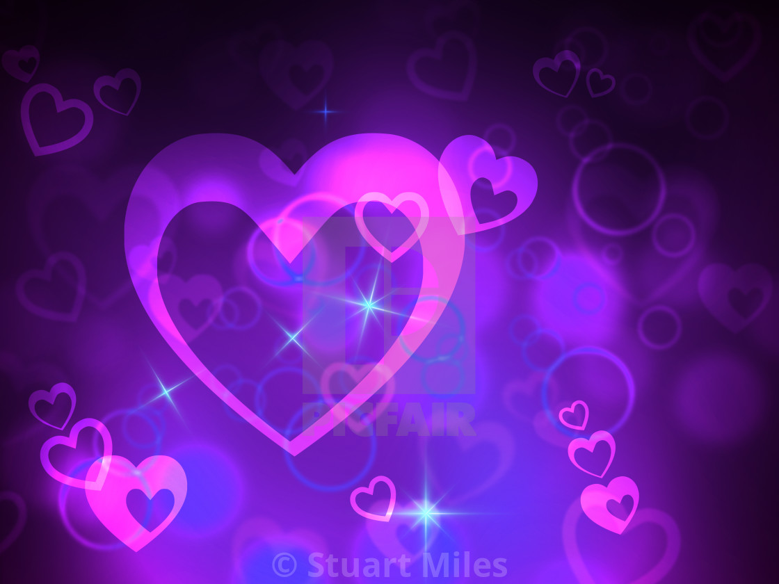 Bokeh Heart Indicates Valentine Day And Abstract License