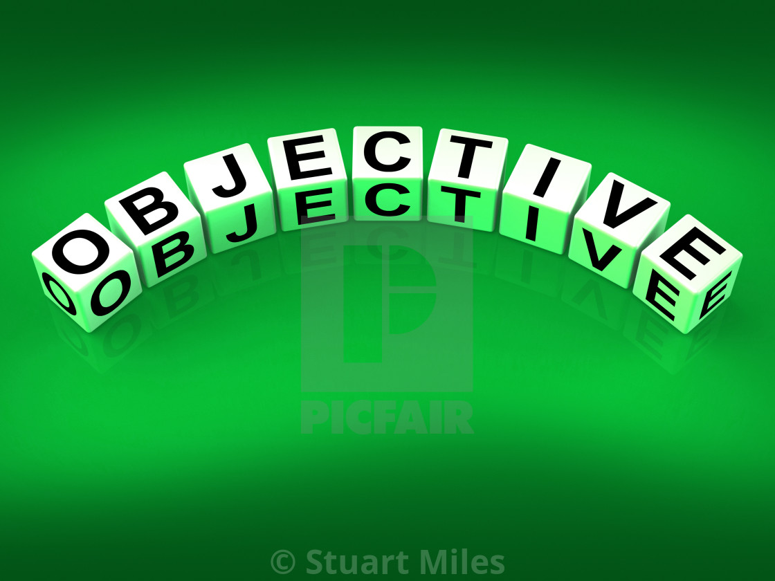 """Objective Blocks Mean Goals Targets and Objectives"" stock image"