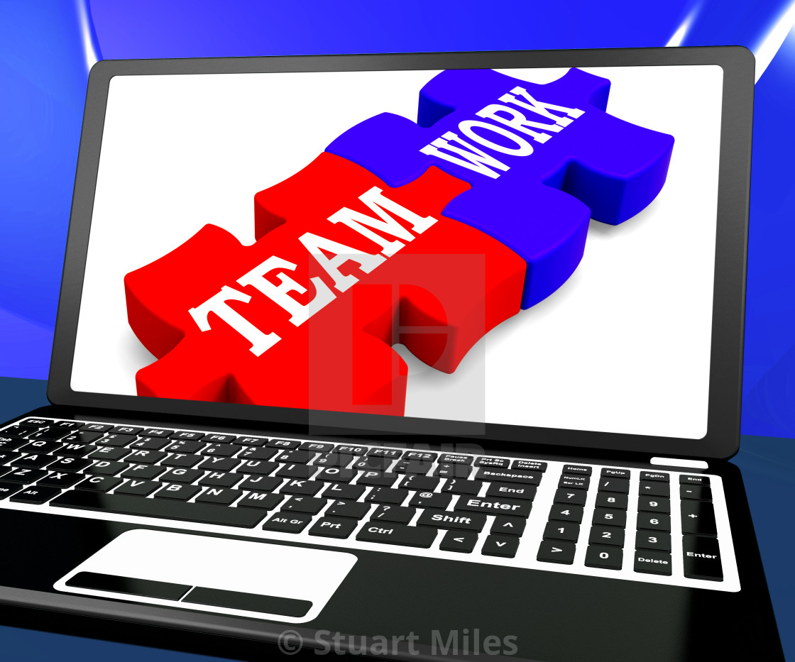 Team Work On Laptop Shows Unity - License, download or print