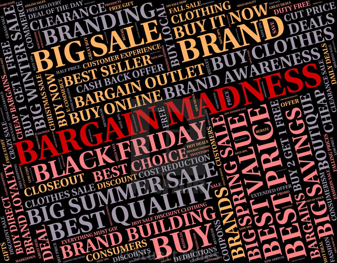"""Bargain Madness Shows Discount Crazy And Sale"" stock image"