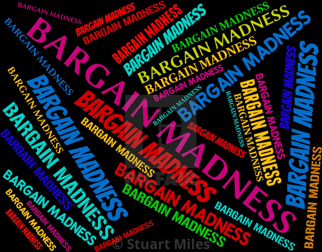 """""""Bargain Madness Represents Save Savings And Offer"""" stock image"""