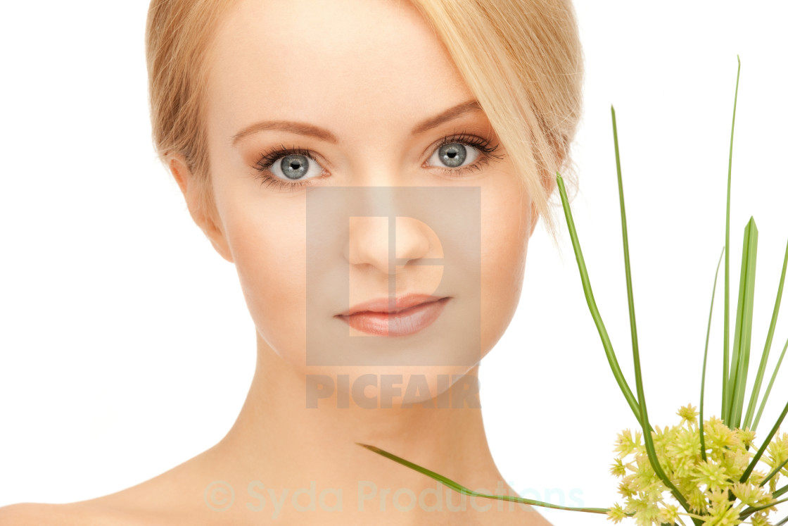 """""""woman with green sprout"""" stock image"""