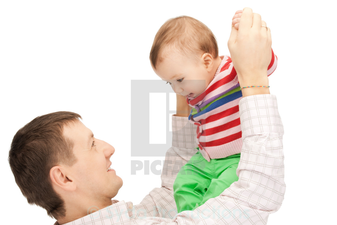 """happy father with adorable baby"" stock image"