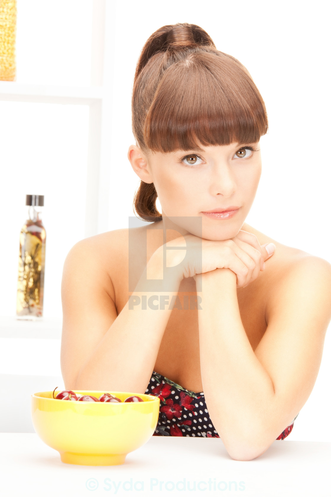 """""""beautiful woman in the kitchen"""" stock image"""