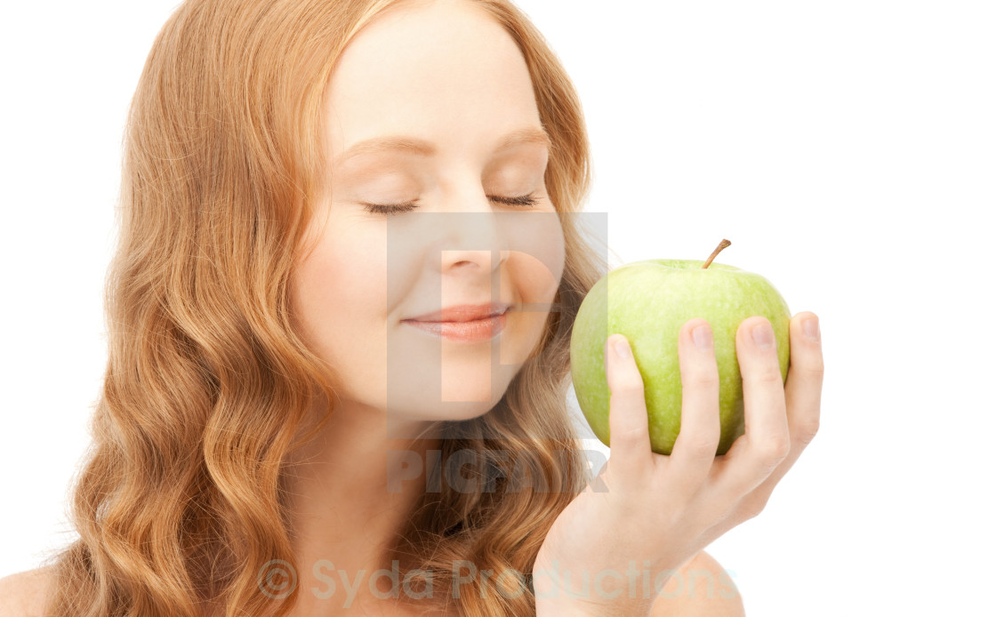 """young beautiful woman with green apple"" stock image"
