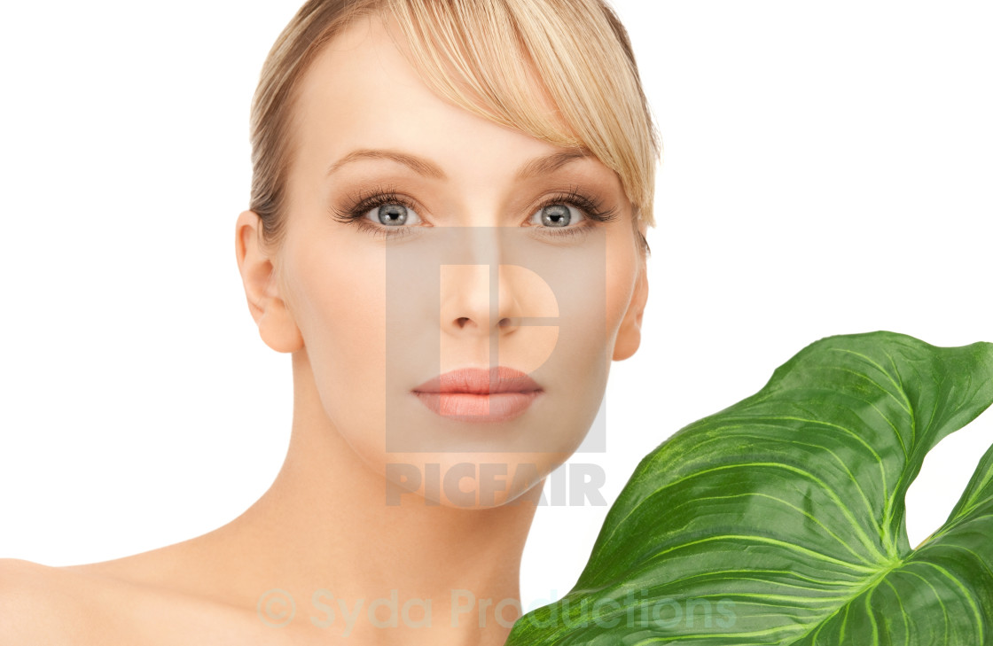 """woman with green leaf"" stock image"