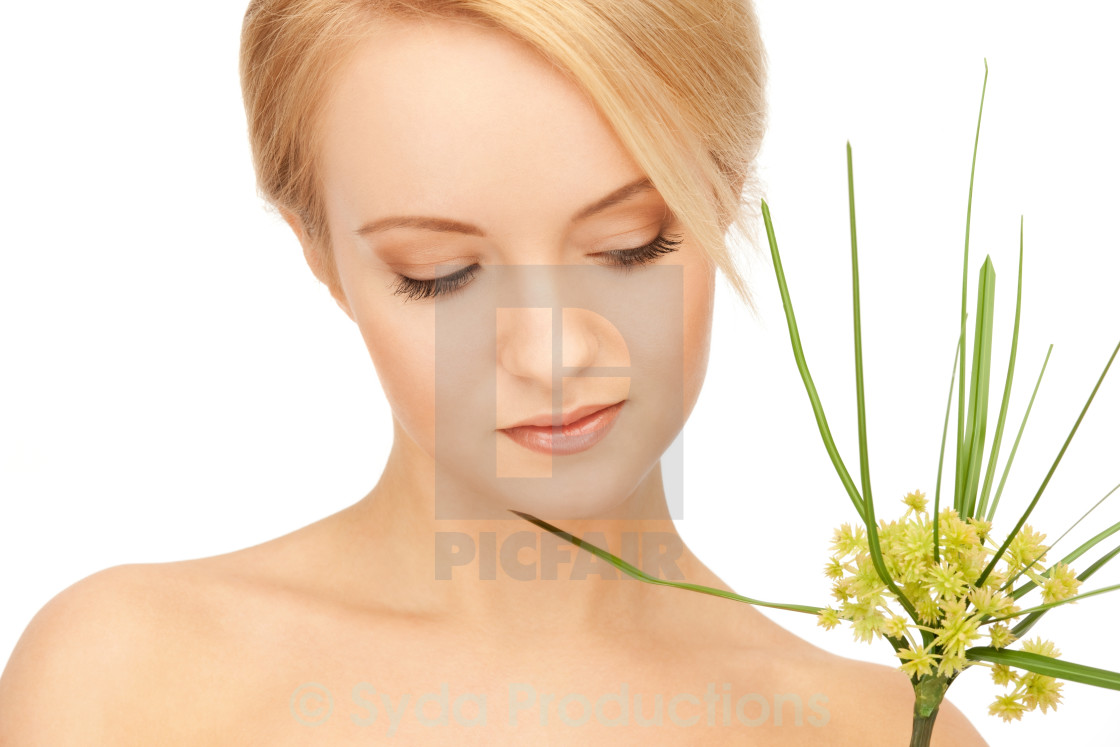 """woman with green sprout"" stock image"
