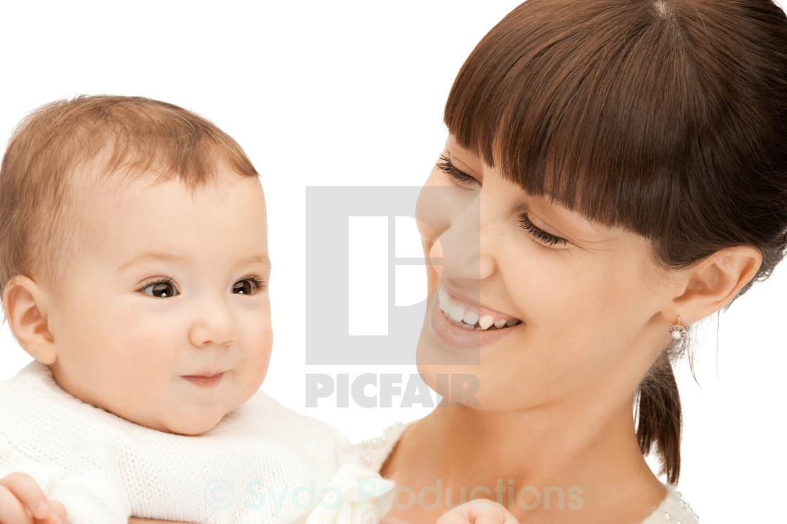 """""""happy mother with adorable baby"""" stock image"""