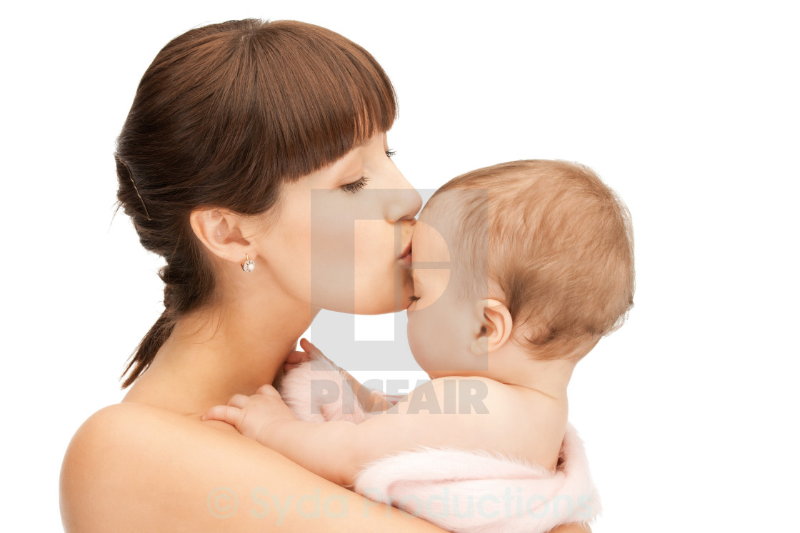 """happy mother with adorable baby"" stock image"