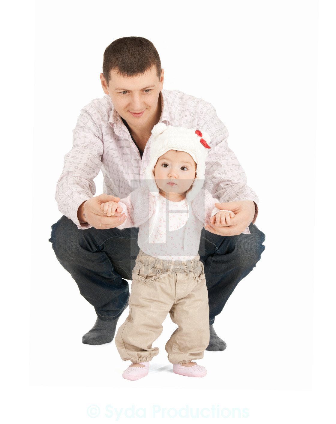 """""""baby making first steps with father help"""" stock image"""