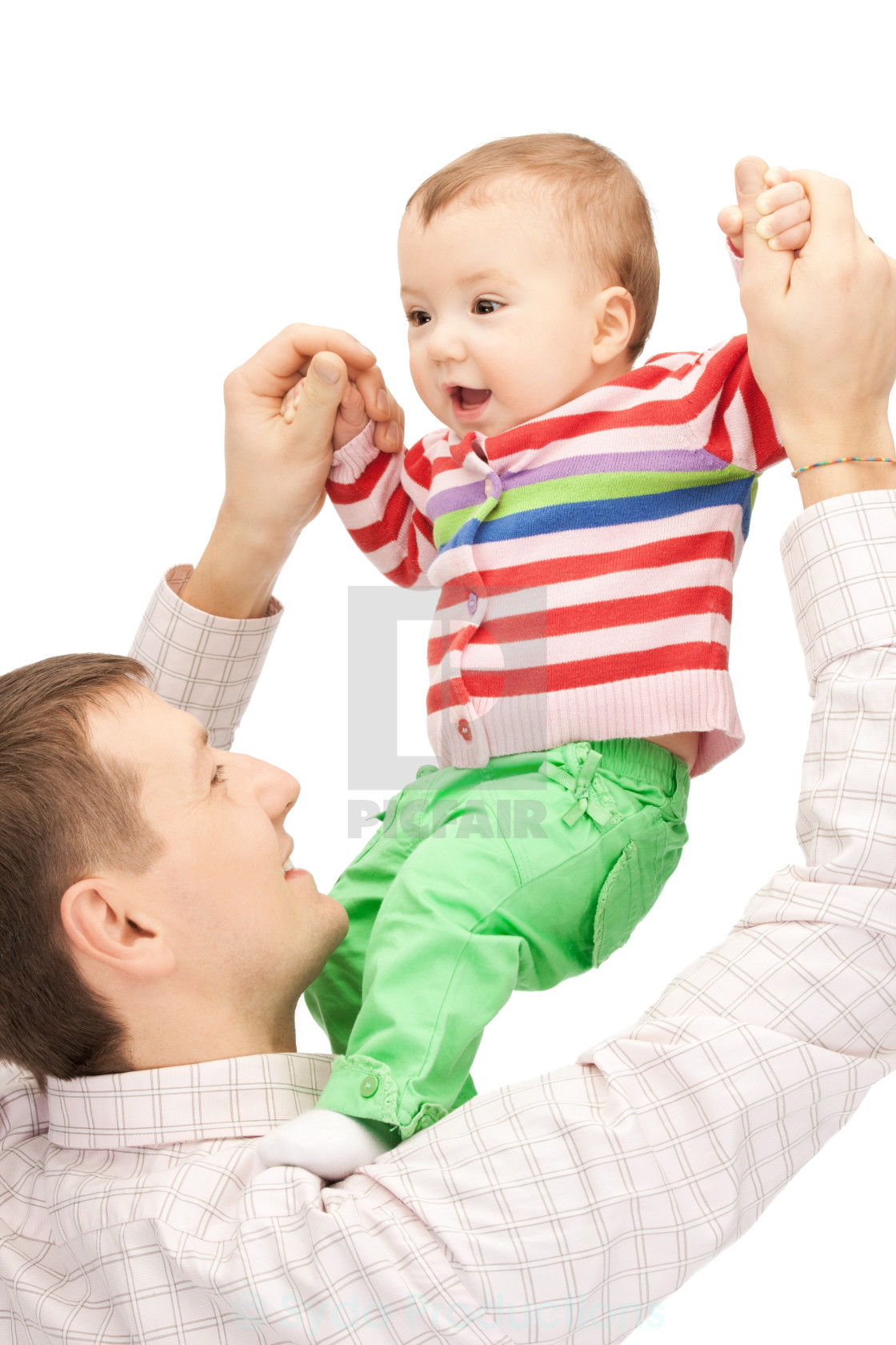 """""""happy father with adorable baby"""" stock image"""