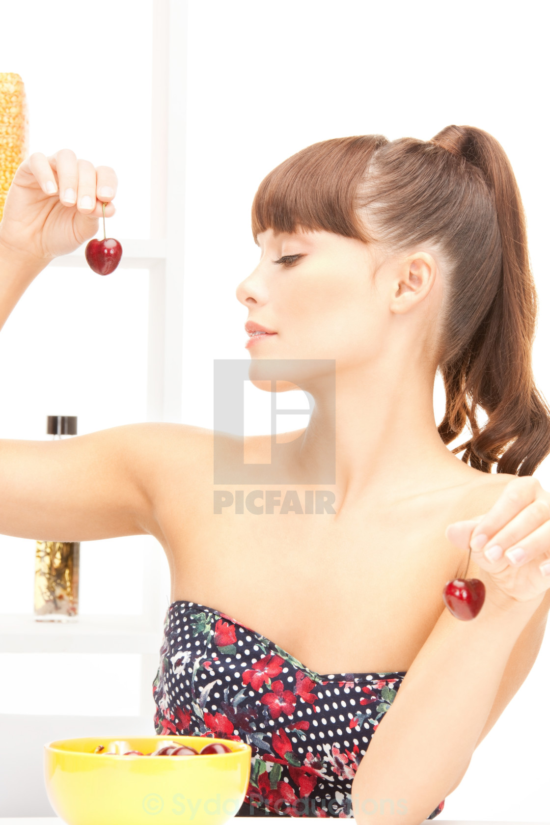 """beautiful woman in the kitchen"" stock image"