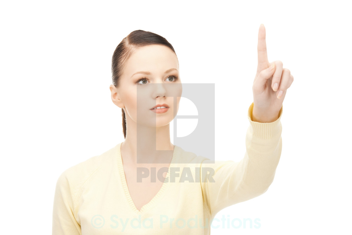 """""""businesswoman working with something imaginary"""" stock image"""