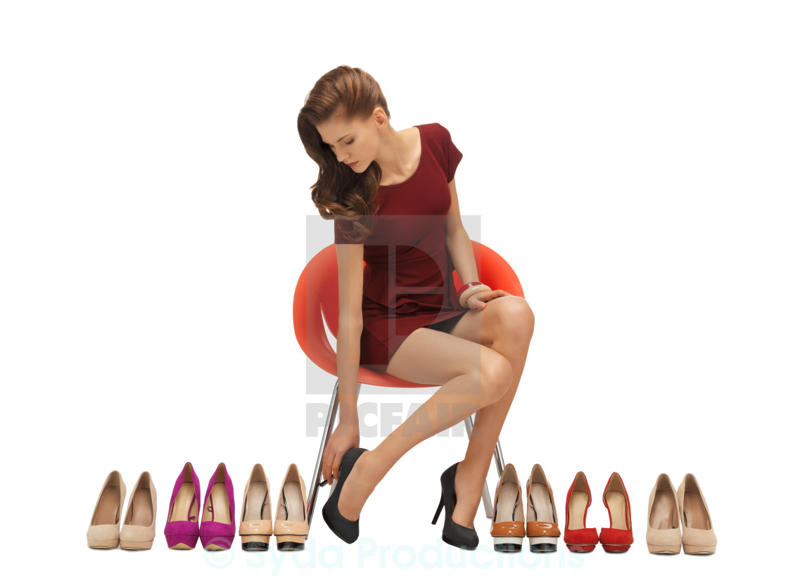 48d9770f945 lovely teenage girl in red dress with shoes - License, download or ...