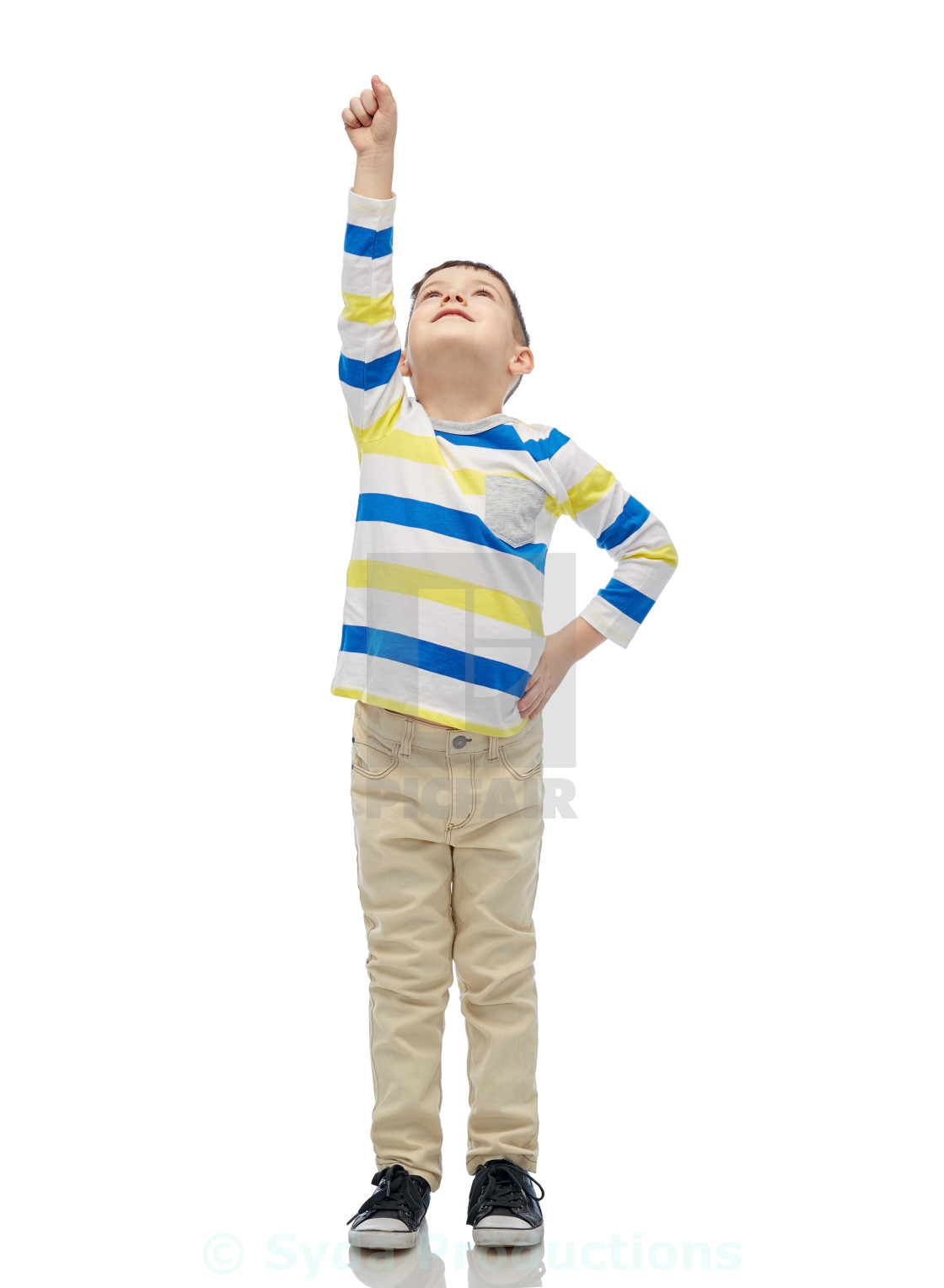 """happy smiling little boy with raised hand"" stock image"