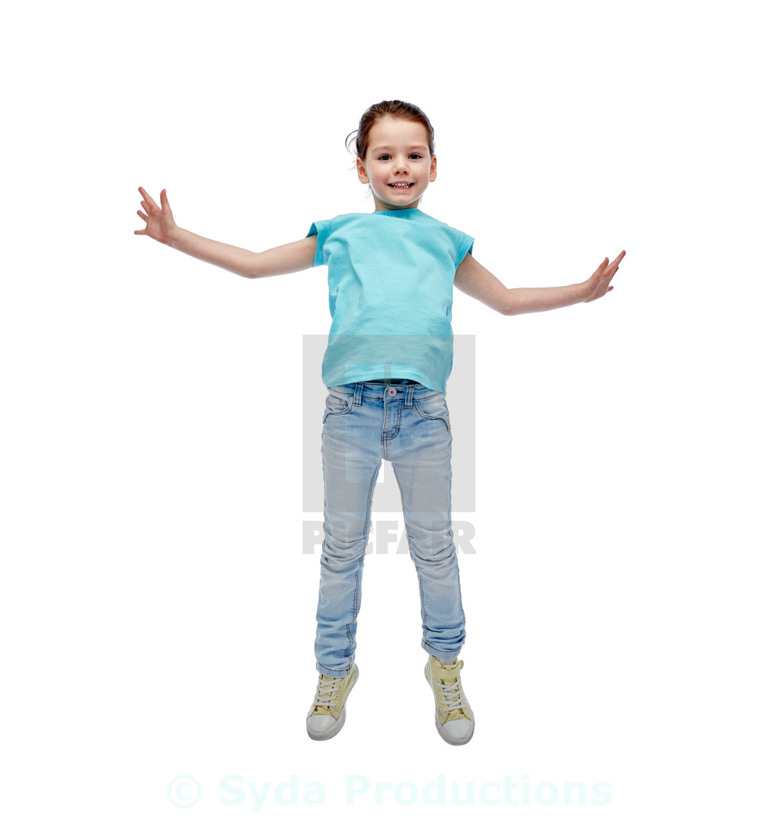 """""""happy little girl jumping in air"""" stock image"""