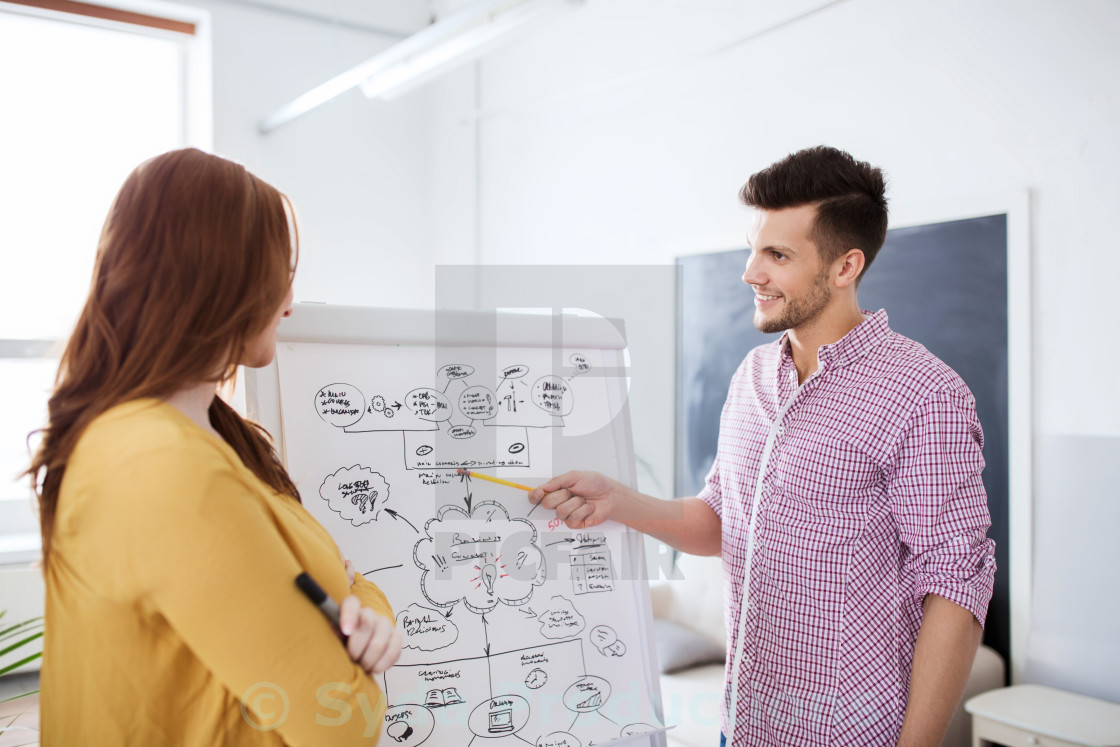 """""""creative team with scheme on flip board at office"""" stock image"""