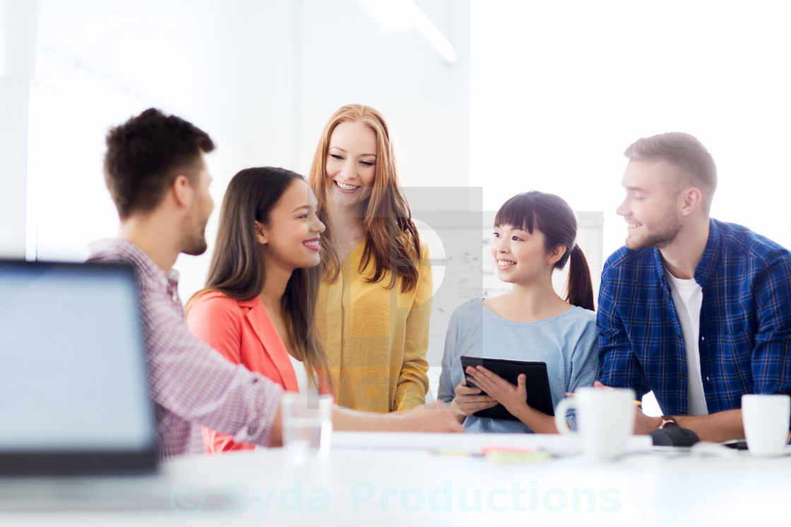 """happy creative team or students working at office"" stock image"