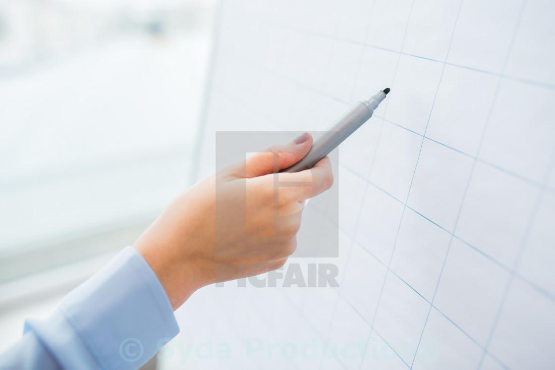 """close up of hand writing something on flip chart"" stock image"