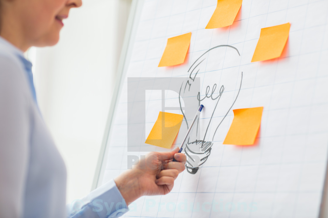 """""""close up of woman pointing to light bulb drawing"""" stock image"""